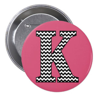 "Black and White Chevron ""K"" Monogram Button"