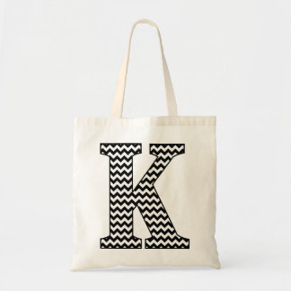 "Black and White Chevron ""K"" Monogram Tote Bag. Budget Tote Bag"