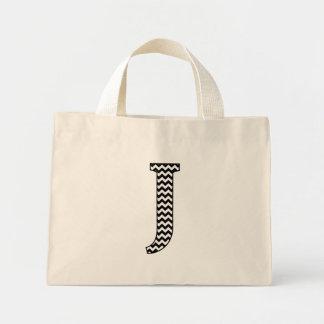 Black and White Chevron Letter J Monogram Mini Tote Bag