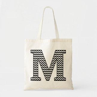 "Black and White chevron ""M"" Monogram Tote Bag"