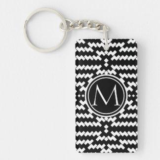 Black and White Chevron Monogram Keychain
