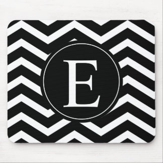 Black and White Chevron Monogram Mouse Pad