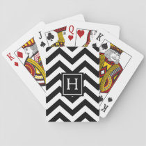Black And White Chevron Monogram Playing Cards