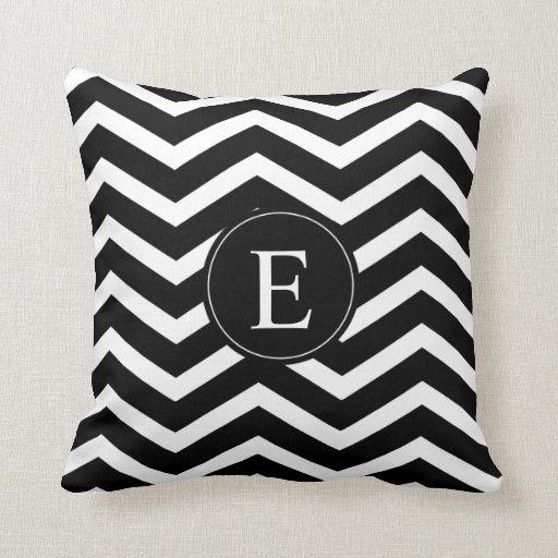 Black And White Chevron Throw Pillows : Black and White Chevron Monogram Throw Pillow Zazzle