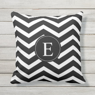 Black and White Chevron Monogram Throw Pillow