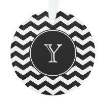 Black and White Chevron Monogrammed Ornament