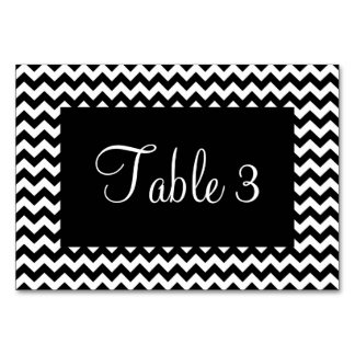 Black and White Chevron Numbered Card