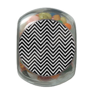 Black and White Chevron Pattern 2 Glass Candy Jar