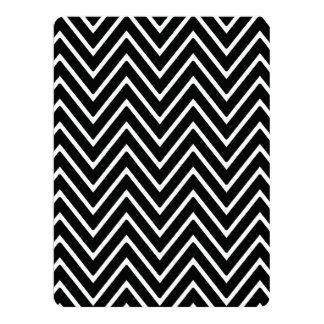 Black and White Chevron Pattern 2 6.5x8.75 Paper Invitation Card