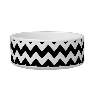 Black and White Chevron Pattern Cat Food Bowls