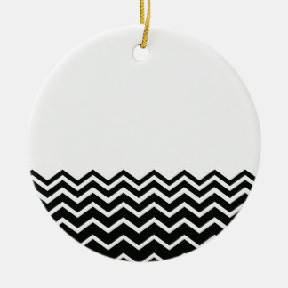 Black and White Chevron Pattern Ceramic Ornament