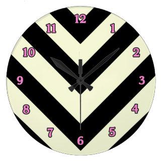 Black and White Chevron Pattern Clock