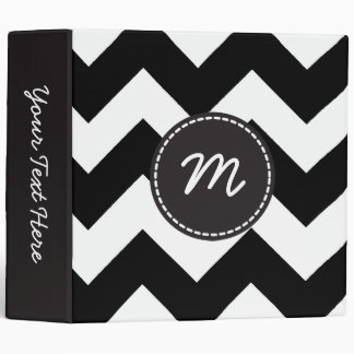 Black and White Chevron Pattern Custom Monogram 3 Binder