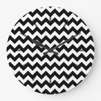 Black and White Chevron Pattern Large Clock