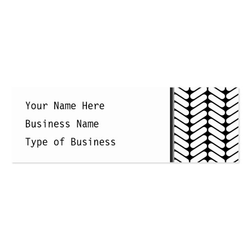 Black and White Chevron Pattern, Like Knitting. Double-Sided Mini Business Cards (Pack Of 20)