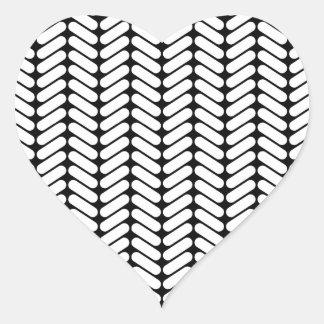 Black and White Chevron Pattern, Like Knitting. Heart Sticker