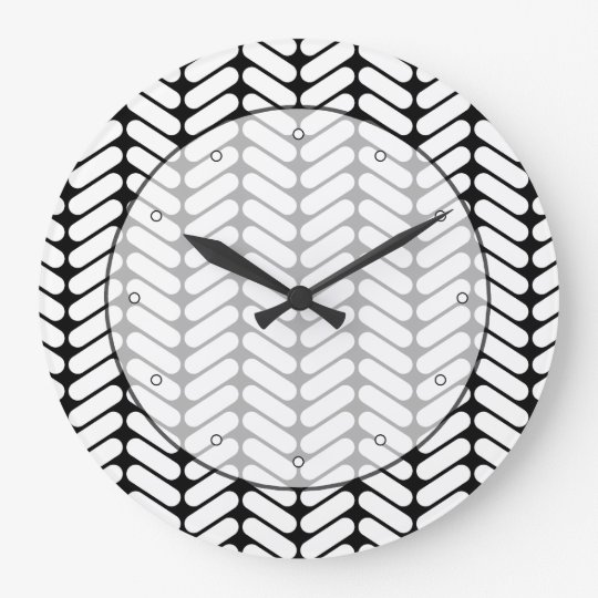 Black and White Chevron Pattern, Like Knitting. Large Clock