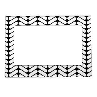 Black and White Chevron Pattern, Like Knitting. Magnetic Photo Frame