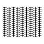 Black and White Chevron Pattern, Like Knitting. Postcard
