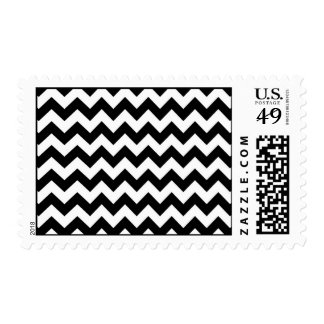 Black and White Chevron Pattern Postage Stamps