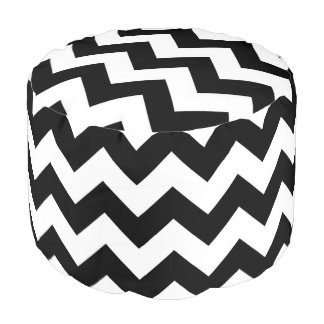 Black And White Chevron Pattern Pouf Seat
