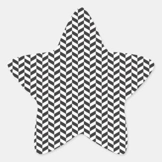 Black and White Chevron Pattern Star Sticker