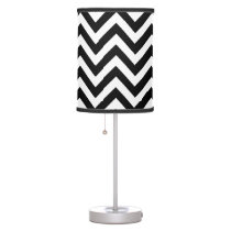 Black and white chevron pattern table lamps