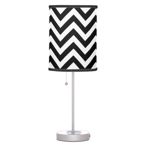 black and white chevron pattern table lamps zazzle. Black Bedroom Furniture Sets. Home Design Ideas