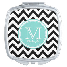 Black And White Chevron Pattern With Monogram Makeup Mirror at Zazzle