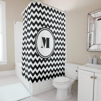 Black And White Chevron Pattern With Monogram Shower Curtain