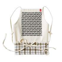 Black and White Chevron Pattern Zazzle HEART Apron