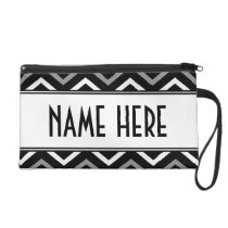 Black And White Chevron Pattern Zigzag Wristlet