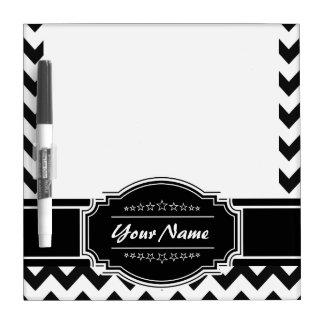 Black and White Chevron Personalized Name Dry Erase Board