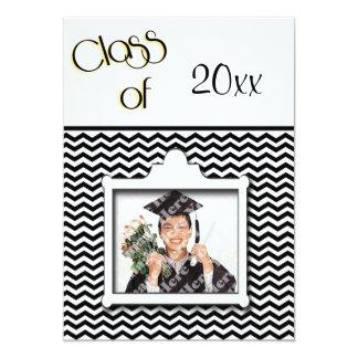 Black And White Chevron Photo Graduation Party 5x7 Paper Invitation Card