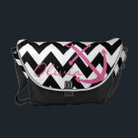 "Black and White Chevron Pink Anchor Diaper Bag<br><div class=""desc"">This messenger bag is the perfect size for diapers, bottles and everything your little one needs! Personalize it with a name, or leave it blank for a stylish bag that can be used for years after your baby has outgrown a diaper bag. Features a modern black and white chevron pattern...</div>"