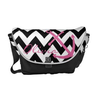 Black and White Chevron Pink Anchor Diaper Bag
