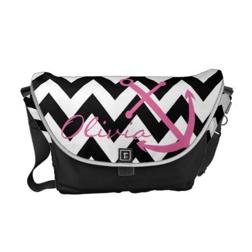 Black and White Chevron Pink Anchor Diaper Bag Messenger Bag