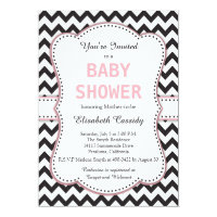 Black and White Chevron, Pink, Baby Shower Card