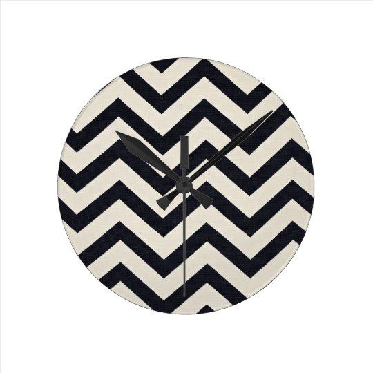 Black and white chevron Print. Round Clock