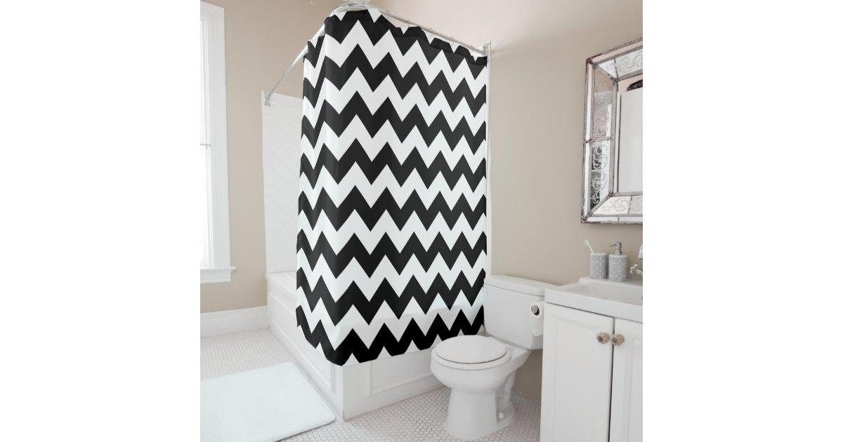 black and white chevron print shower curtain curtain