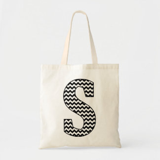 "Black and White Chevron ""S"" Monogram Tote Bag"