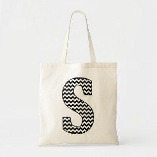 "Black and White Chevron ""S"" Monogram Tote Bag"