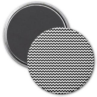 Black and White Chevron Stripe 3 Inch Round Magnet