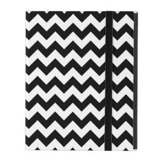 Black and White Chevron Traditional Pattern iPad Folio Case