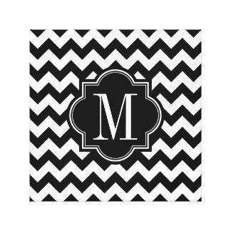 Black and White Chevron with Black Monogram Canvas Print