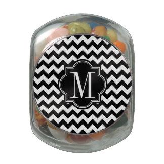 Black and White Chevron with Black Monogram Glass Jar