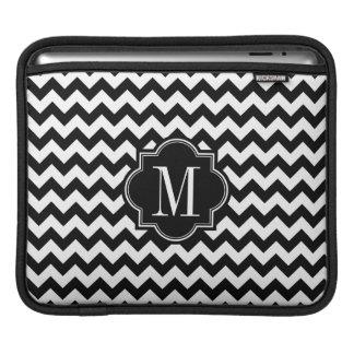 Black and White Chevron with Black Monogram iPad Sleeve