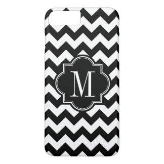 Black and White Chevron with Black Monogram iPhone 7 Plus Case