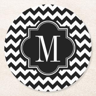Black and White Chevron with Black Monogram Round Paper Coaster