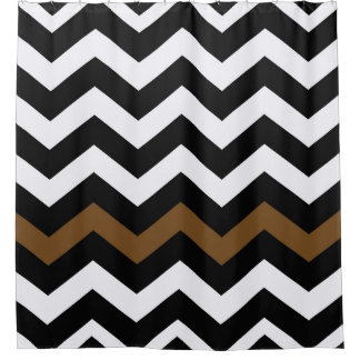 Brown And White Chevron Shower Curtains Zazzle - Black and white chevron shower curtain